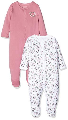NAME IT Baby-Mädchen 13173256 Schlafstrampler, Mehrfarbig (Heather Rose Heather Rose), 74 (2er Pack)