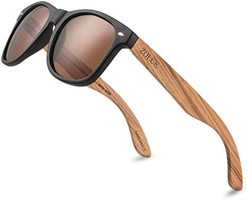 ZOLCE Zebra Wood Sunglasses for Men and Women Wooden Bamboo Frame package Vintage Polarized product image