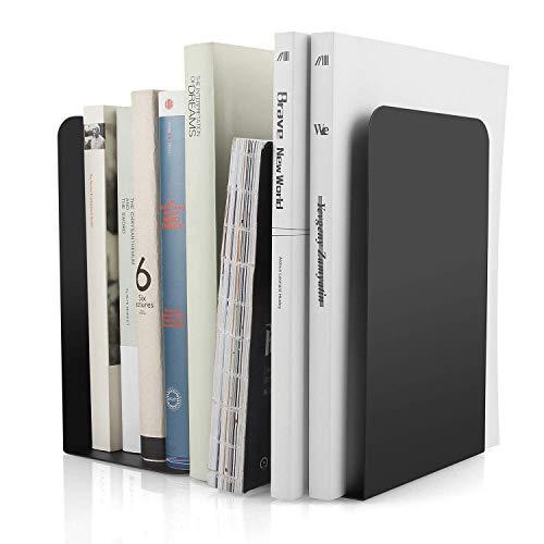 STARVAST 2Pcs Serre-livres en Métal,Serre-livres en Forme de L 8 x 4 x 5.4Inch,Serre-livres Heavy Duty Métal Antidérapant pour Bibliothèque de l'école Bureau à la maison Étagère Decor-Noir