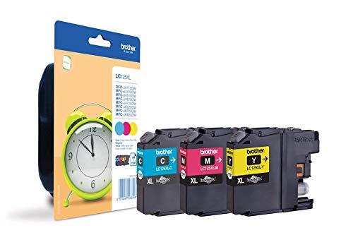 Brother Original XL-Tintenpatronen LC-125 Rainbow-Pack (cyan, magenta, gelb) (für Brother DCP-J4110DW, MFC-J4410DW, MFC-J4510DW, MFC-J4610DW, MFC-J4710DW, MFC-J6520DW, MFC-J6720DW, MFC-J6920DW)