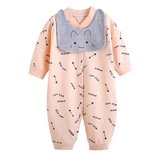 WSLCN Unisexe Bébé Combinaison à Boutons Manteau Coton Serviette de Salive Épais Coton Jumpsuit Chaud Printemps Automne Jacket Enfant Pyjama Hiver Tenues 3-6 mois 20-E