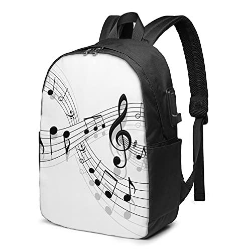 Music Theory - Mochila de viaje para portátil con puerto de carga USB para hombres y mujeres de 17 pulgadas, ver imagen, Talla única,