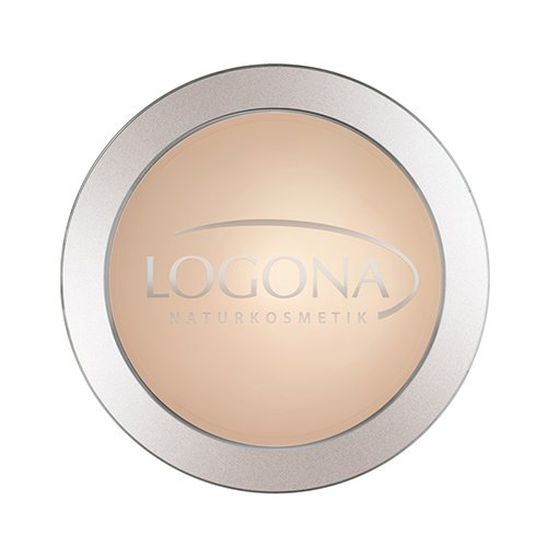 LOGONA Naturkosmetik Face Powder No. 01 Light Beige, Natural Make-up, mattierender Kompaktpuder, Heller Hautton, fixiert zuverlässig die Foundation, Bio-Extrakte, Vegan, 10 g