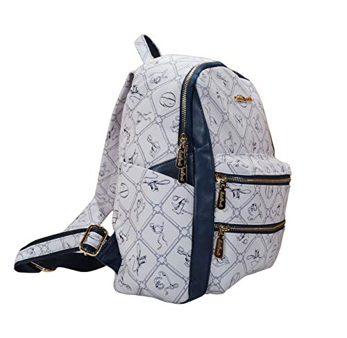 Rucksack Damen Mädchen Reisen Schultasche Lederimitat modern Handgepäck (Weiß/Blau)
