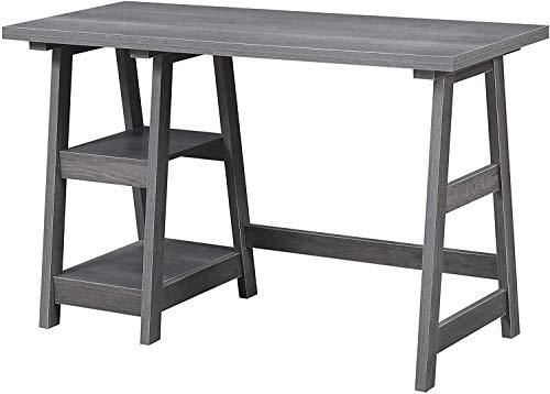 Convenience Concepts 090107CGY Designs2Go Trestle Desk, Charcoal Gray