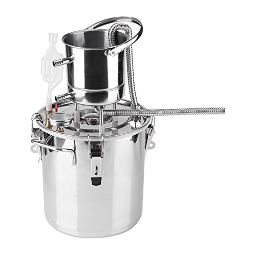 Asixx Alambique Destilación, Destilador Vino, de Acero Inoxidable Y Cobre, con Termómetro, Accesorios para Fermentar Y Destilar Bebidas Alcohólicas(20L)