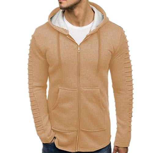 Mens Hoodie Full-Zip Coat Long Sleeve Slim Fit Pleated Hoody Streetwear Spring, Autumn and Winter New Outdoor Fitness Run Sport Casual Daily Wear Comfortable Sweatshirt with Pockets XL Khaki
