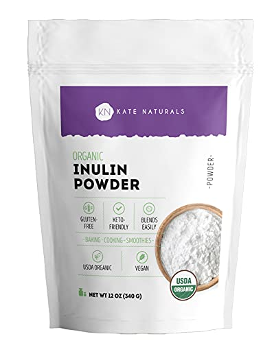 Organic Inulin Powder (12oz) for Prebiotic Fiber and Gut Health by Kate Naturals. Vegan, Gluten-Free & Keto-Friendly. Mix Well with Coffee & Smoothies. Made from Blue Agave Tequilana Weber