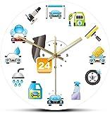 Decoración grande reloj de pared coche pulido de limpieza acrílico pared colgante reloj de transporte transporte vehículo limpiador limpieza esponja servicio automático servicio de pared fácil de leer