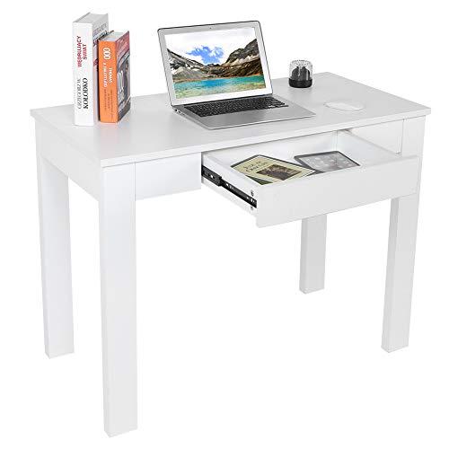 Escritorio para ordenador de estilo moderno, mesa de estudio, robusta y espaciosa, mesa de tablero de partículas con cajón para oficina, casa, dormitorio, salón, 100 x 50 x 66 cm, color blanco