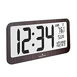 Marathon Slim Jumbo Panoramic Atomic Wall Clock with Date and Indoor Temperature. Commercial Grade with Big 6-Inch Numbers, Alarm and Stand - Batteries Included - CL030033JUMBO-WD (Wood Grain Finish)
