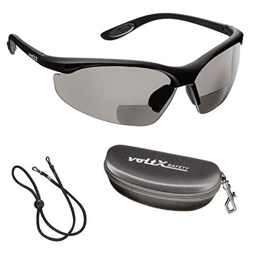 voltX 'CONSTRUCTOR' BIFOCALE VEILIGHEIDSLEESBRIL met Veiligheidskoffer (ROOKKLEURIG/GRIJS +3.5 Dioptrie) CE EN166F Gecertificeerde/Fiets- of Sportbril inclusief veiligheidskoord + UV400 lens met anti-mist coating