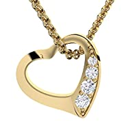 Herzkette Gold Goldkette Damen (Silber vergoldet) Halskette für Damen-Kette Zirkonia Stein Geschenk Etui mit Gravur Echt Anhänger Herz Schmuck Frau Frauen Freundin klein Liebe besonders