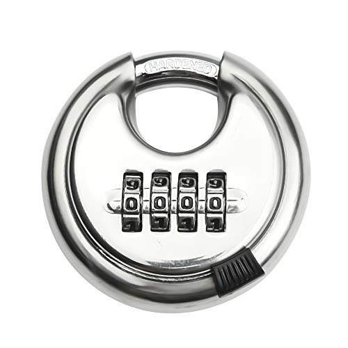 Stainless Steel Discus Padlock 4 Digit (3inch) Combination Lock Outdoor for Warehouse, Sheds, Storage Locker, Units
