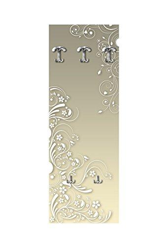 Lupia wandgarderobe van hout 3 haken + 2 opbergvakken moderne bloemen wit 49 x 139 cm