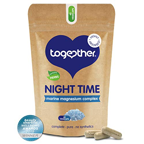 Night Time Complex – Together Health – Marine Magnesium – Griffonia & Hops Extracts – Vegan Friendly – Made in the UK – 60 Vegecaps