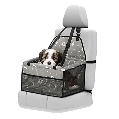 Seggiolini auto per cani, zootop seggiolino auto per cani traspirante Oxford portatile impermeabile e pieghevole seggiolino auto per cuccioli con cintura di sicurezza e lati imbottiti resistenti (Gry)