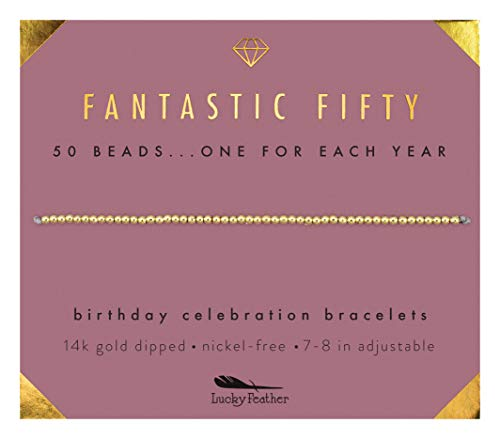 """Lucky Feather 50th Birthday Gifts for Women; 14K Gold Dipped Beads Bracelet on Adjustable 7""""- 8"""" Cord - 50th Birthday Jewelry Gift Ideas"""