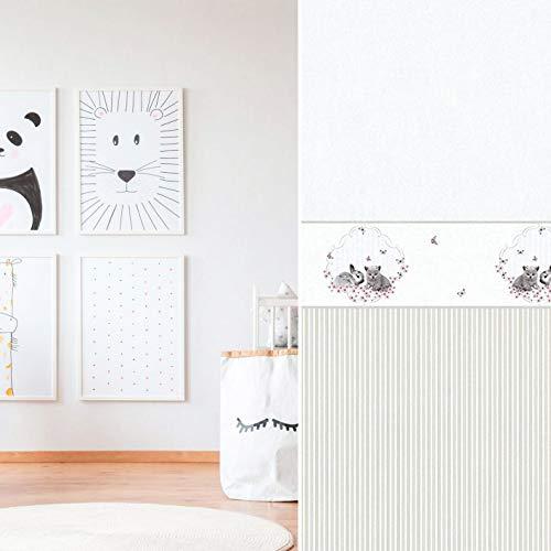 #Milieuvriendelijk gestreept 3D vliesbehang PVC-vrij kinderbehang haasjes katjes kinderkamer muurschildering borduurbehang babykamer fotobehang Made in Germany 10.05 m x 0.53 m Behang gestreept