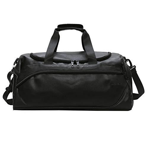 WHCREAT Bolsa de Viaje de Cuero de PU con Compartimento para Zapatos, Pernocte Durante la Noche Holdall Bolsa de Deporte para Hombres Mujeres