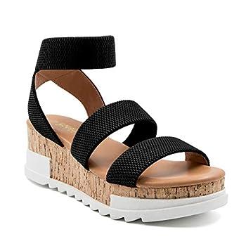 Athlefit Women s Wedge Sandals Platform Sandals Cork Elastic Strap Sandals Size 7 Black