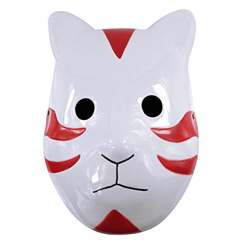 IDOXE Ninja Shippuuden ANBU Anmie Cosplay Mask Black Ops Mask Nakimo Fox Mask Japanese Style Anime Fox Nakimo Mask Cosplay Halloween Accessories Mask for Party Favor