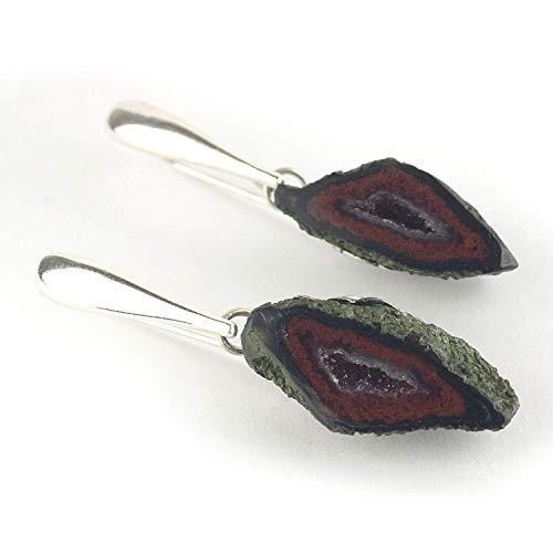 """Ohrringe mit Achat-Geode dunkelrot und Silber Länge 42 mm (1.65"""")"""