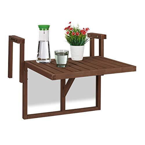 Relaxdays Tavolino Pieghevole per Balcone, Appendere alla Ringhiera, Regolabile in Altezza, Salvaspazio, Marrone Scuro