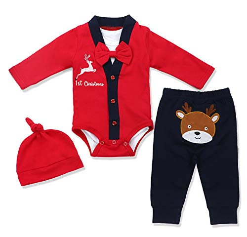 Baby Girls Boys Christmas Outfit My First Christmas Rompers 4Pcs Set 3-6 Months Red