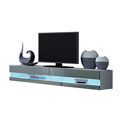 Domadeco Seattle Wall Mounted TV Stand/TV Entertainment Center/Floating tv Wall Units Color (White & Grey)