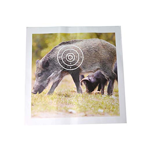 Zielscheibe Papier Wildschwein 38 × 38cm mit 4 Ineinander liegenden, Nummerierten Ringen für Übungen am Bogenschießen(50 Blatt Papier)