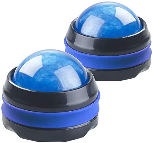 newgen medicals Massagekugeln: 2er-Set Massageroller für den ganzen Körper, mit 360°-Halterung, blau (Massage-Bälle)