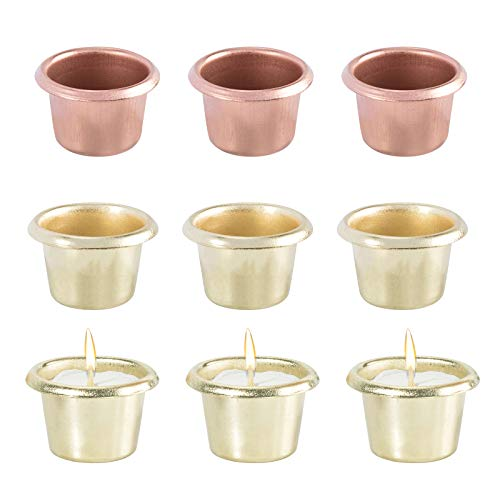 OLYCRAFT 10pcs Metal Candle Cups 2-Color Candle Holder Taper Base for Lamp Candle Making Menorah Hanukah Candelabra and DIY Candle Projects - Golden & Rose Gold Finish