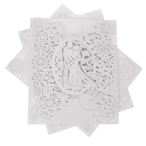 Piero 20 STUKS Romantische Uitnodigingskaart Bruidegom Bruid Trouwkaart Hol Bruiloftsfeest, Wit, M