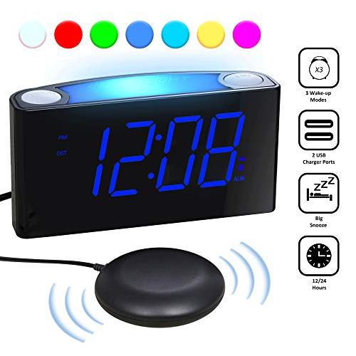 Loud Vibrating Alarm Clock Bed Shaker for Heavy Sleepers Deaf Seniors Kids, Bedrooms Home Kitchen Desk - Large Digital Display & Dimmer, Night Light, 2 USB Ports, Easy Set, 12/24 H DST, Battery Backup