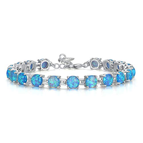 CiNily Adjustable Silver Plated Opal Tennis Bracelet for Women Girls - Fashion Jewelry Gift   Opal Bracelets in Sterling Silver,Rose Gold and Yellow Gold Plating blue