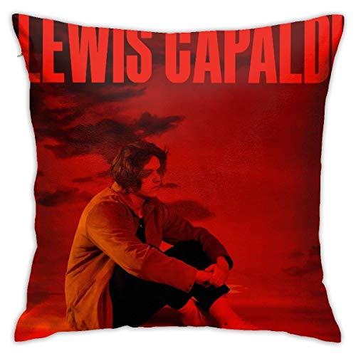 LAKILAN Lewis Capaldi Abrázame mientras esperas Fundas de almohada Funda de almohada de poliéster Patrón decorativo Lavable para sofá Decoración del hogar 45*45CM Fundas extraíbles Funda de almohada