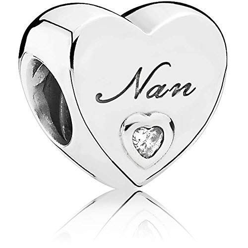 Love Heart Charm Collection Beads - Authenic S925 Sterling Silver Love Heart Family Collection with Cubic Zirconia Charms & Gift Pouch (Nan)