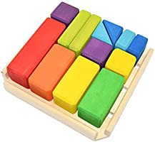 Rainbow wooden blocks, 13 Piece, Montessori inspired, Wooden toy, Natural organic blocks, Waldorf first toddler toy,...