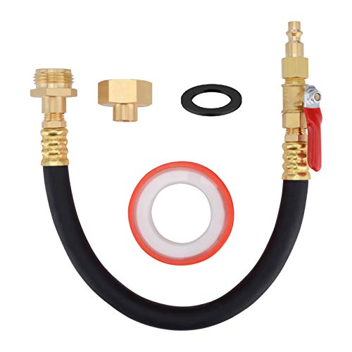 12 Inch Air Compressor Kit Male & Female Quick Connect Blow Out Fitting Plug,RV Winterizing Kit Sprinkler Blowout Adapter with Shut Off Valve,Winterize RV Motorhome Boat Camper Travel Trailer