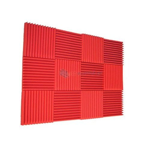 (12Pk) 1x12x12 Red Acoustic Wall Panels Soundproofing SoundProof Foam, Recording Studio Equipment Sound Dampening insulation foam Sound Proof Padding Wedges (12T)
