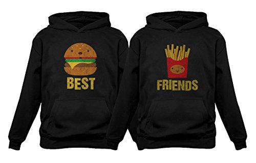 Best Friends Set BFF Hoodies Set Burger & Fries Junk-Food Matching Couple Hoodie Burger Black Small/Fries Black Small