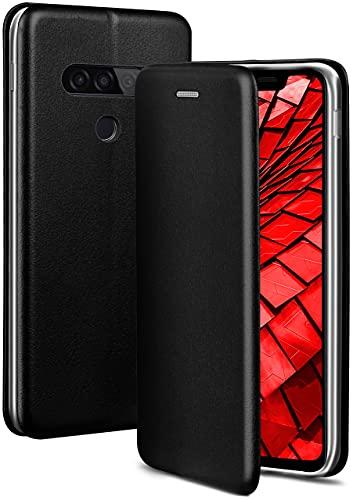 ONEFLOW Handyhülle kompatibel mit LG G8s ThinQ - Hülle klappbar, Handytasche mit Kartenfach, Flip Hülle Call Funktion, Leder Optik Klapphülle mit Silikon Bumper, Schwarz