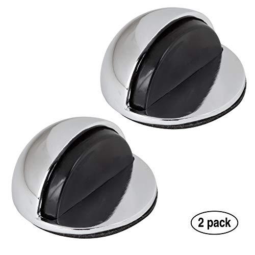 LouMaxx Türstopper Boden selbstklebend - 2er Set Tür Stopper Chrome-Optik - Türstopper kleben - Bodentürstopper selbstklebend - Effektiver Design Türstopper selbstklebend