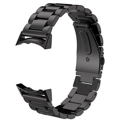 Sundaree Compatible con Correas Gear S2 Sport,Metal Acero Inoxidable Reemplazo Correas Banda Pulseras de Repuesto Correa de Reloj Inteligente para Samsung Gear S2 Sport SM-R720/SM-R730(S2-BLACK)