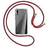 TBOC Étui pour Huawei P20 Pro [6.1 pouces] – Coque transparente avec corde [rouge] pour...