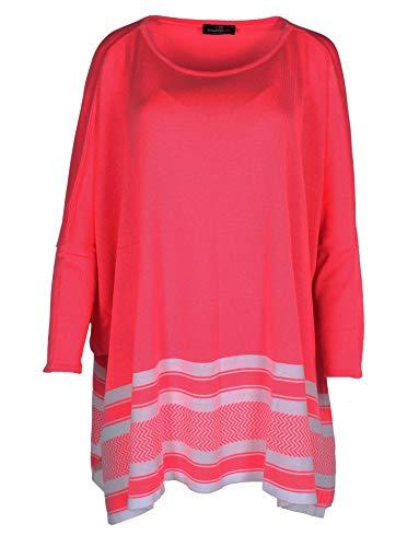 Zwillingsherz Poncho mit Baumwolle - Hochwertiges Cape Uni einfarbig für Frauen Damen Mädchen - XXL Umhängetuch und Tunika - Strick-Pullover - Sweatshirt - für Frühjahr Sommer Herbst und Winter pink
