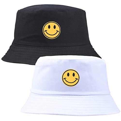 FANDE Unisex del Casquillo del Sombrero del Cubo del Bordado Pescador De Algodón Patrón De La Sonrisa del Casquillo De Sun Plegable Sombrero Al Aire Libre para Las Mujeres De