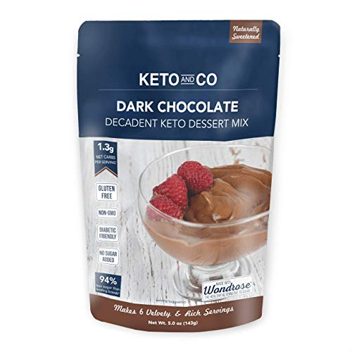 Dark Chocolate Decadent Keto Dessert Mix by Keto and Co | Just 1.3g Net Carbs Per Serving | Diabetic & Keto Friendly, Gluten Free, Dairy Free, Naturally Sweetened | (Dark Chocolate Flavor)