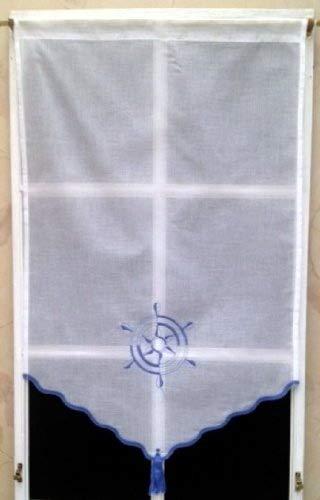 Rido&Co Store Polyester Blanc Brodé Bleu 55x90 cm